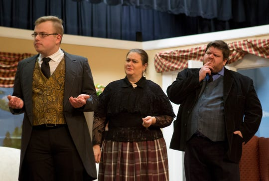Sam Scott, Amanda Gress, Kevin Kreider rehearse at the Tripple Locks Theater for the the play' Play On'. The Show opens March 6.
