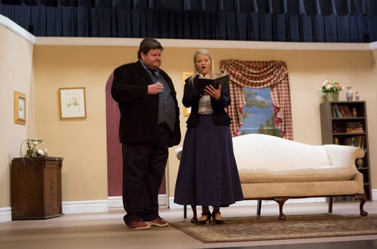 Kevin Kreider and Cyndi Shuttrehearse at the Tripple Locks Theater for the the play' Play On'. The Show opens March 6.