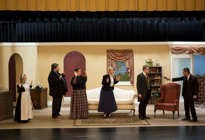 Sophia Dotson, Kevin Kreider, Amanda Gress, Cyndi Shutt, Sam Scott, Jeff Wherley rehearse at the Tripple Locks Theater for the the play' Play On'. The Show opens March 6.