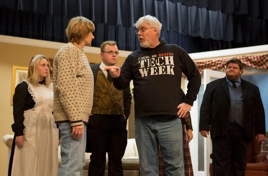 Sophia Dotson, Jill Baumgardner, Sam Scott, Shane Pyle, Kevin Kreider rehearse at the Tripple Locks Theater for the the play' Play On'. The Show opens March 6.