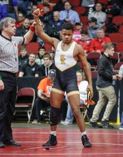 Southeast Polk senior Deveyon Montgomery beat Iowa City West junior Ashton Barker in their match at 170 pounds during the 2020 Iowa high school state wrestling tournament at Wells Fargo Arena in Des Moines on Thursday, Feb. 20, 2020.