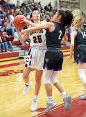 Ankeny freshman Jenna Pitz (25) works for a shot around Johnston senior and UNI commit Maya McDermott (2) as the Johnston Dragons compete against the Ankeny Hawkettes in high school girls' basketball on Friday, February 14, 2020 at Ankeny High School. The Dragons won 76 to 38.