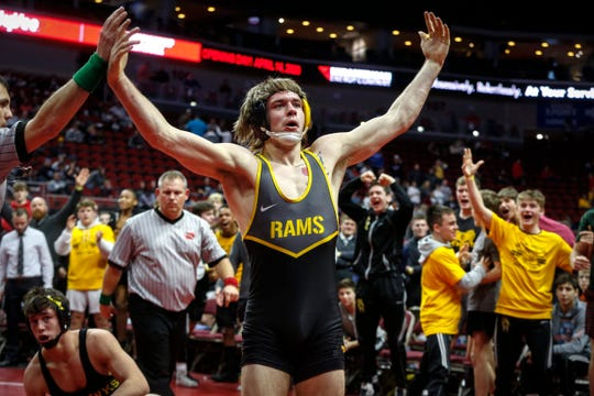Southeast Polk senior Camden Baarda celebrates despite losing a match to Waverly-Shell Rock's Evan Yant in the final match of the dual during the 2020 Iowa high school wrestling dual state tournament at Wells Fargo Arena in Des Moines on Wednesday, Feb. 19, 2020. Baarda fought off a near-pin early in the match to help the Rams to a team win.