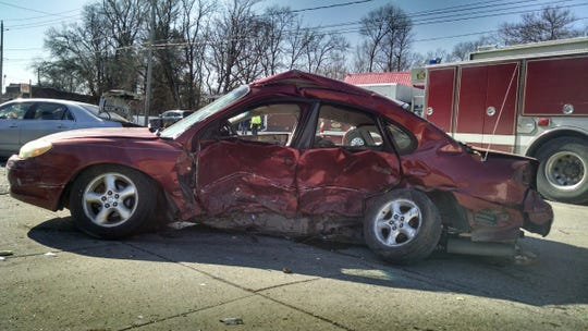 Two men were seriously injured while traveling eastbound on Marian Street when their sedan was hit by a car traveling southbound on 9th Street Thurs. Feb. 20, 2020.