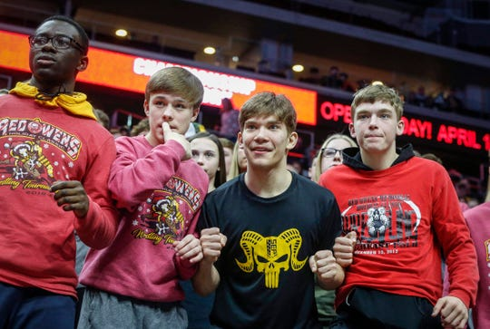 Southeast Polk fans take in the action as the Rams wrestling team beat Waverly-Shell Rock for a Class 3A title during the 2020 Iowa high school wrestling dual state tournament at Wells Fargo Arena in Des Moines on Wednesday, Feb. 19, 2020.