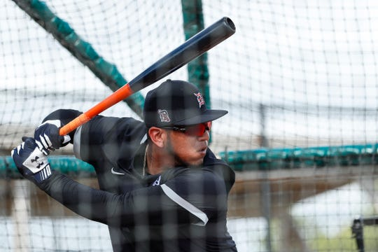 Infielder Isaac Paredes practices in the batting cage during Detroit Tigers spring training at TigerTown in Lakeland, Fla., Wednesday, Feb. 19, 2020.
