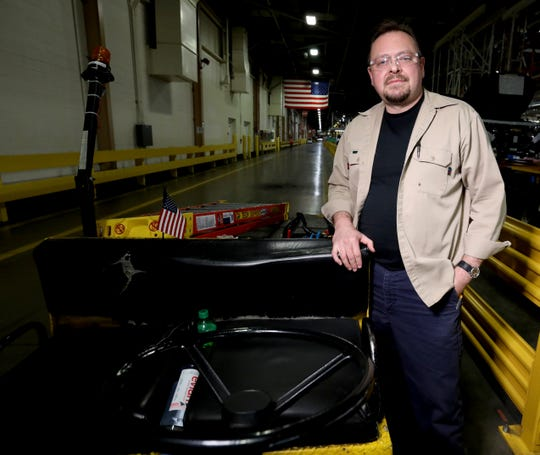 Gary Henrion, 47, of Holly on Tuesday inside Detroit-Hamtramck Assembly. Henrion is a skilled trades electrician, who will have the opportunity to stay at the plant while its undergoes the retooling process.