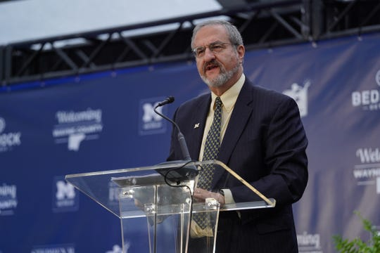 Mark Schlissel, president of the University of Michigan, speaks during a press conference on October 30, 2019.