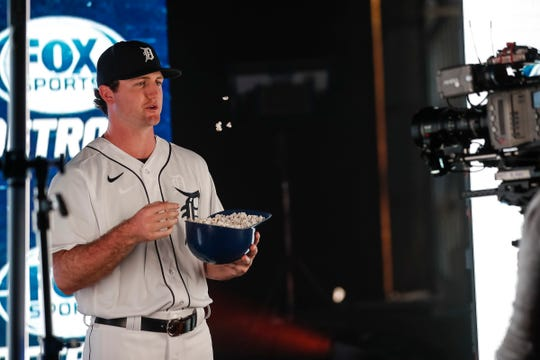 Pitcher Casey Mize in promotional shoot for the Fox Sports Detroit during Detroit Tigers spring training inside of an old airplane hangar at TigerTown in Lakeland, Fla., Sunday, Feb. 16, 2020.