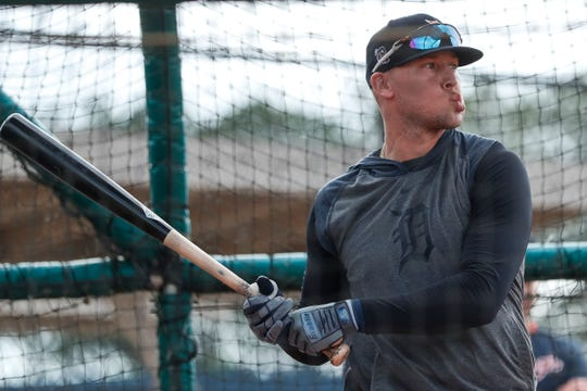 Outfielder JaCoby Jones practices in the batting cage during Detroit Tigers spring training at TigerTown in Lakeland, Fla., Wednesday, Feb. 19, 2020.