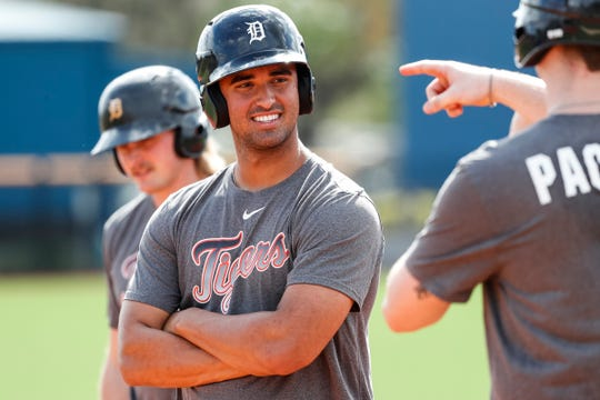 Outfielder Riley Greene talks to Bryant Packard during Detroit Tigers spring training at TigerTown in Lakeland, Fla., Tuesday, Feb. 18, 2020.