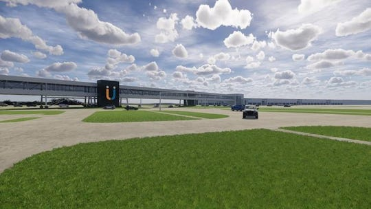 A rendering of the planned 1,000-foot-long enclosed pedestrian bridge across South Boulevard.