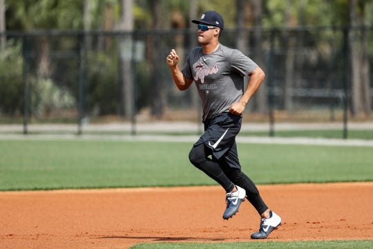 Outfielder Riley Greene runs towards second base during Detroit Tigers spring training at TigerTown in Lakeland, Fla., Thursday, Feb. 20, 2020.