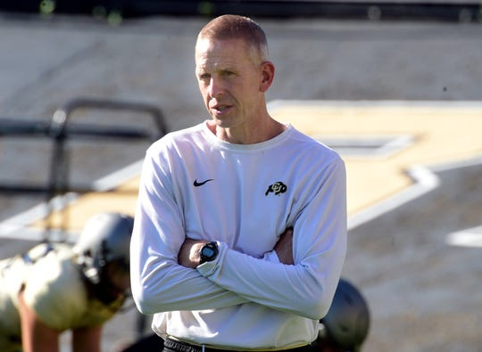 Colorado offensive coordinator Jay Johnson during practice Aug. 3, 2019.