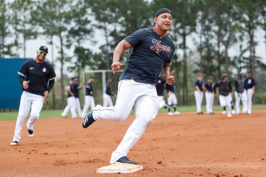 Miguel Cabrera runs towards third base at practice during Detroit Tigers spring training at TigerTown in Lakeland, Fla., Thursday, Feb. 20, 2020.