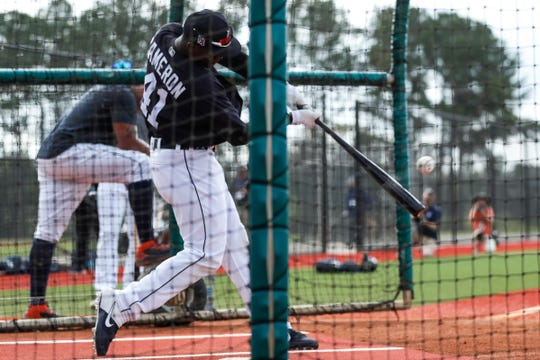Outfielder Daz Cameron practices in the batting cage during Detroit Tigers spring training at TigerTown in Lakeland, Fla., Wednesday, Feb. 19, 2020.