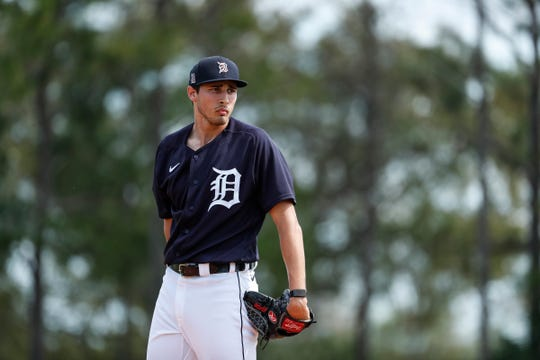 Pitcher Alex Faedo makes a throw during Detroit Tigers spring training at TigerTown in Lakeland, Fla., Tuesday, Feb. 18, 2020.