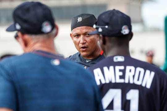 Miguel Cabrera talks to Daz Cameron during Detroit Tigers spring training at TigerTown in Lakeland, Fla., Wednesday, Feb. 19, 2020.