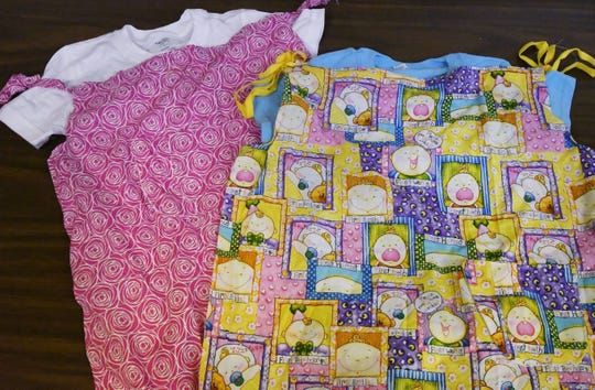 These pillowcase dresses were made by members of the Emily E. Vernon Women's Missionary Society at St. Stephen AME Church in Detroit.