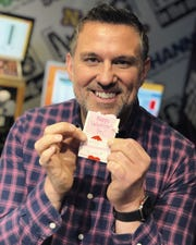 Here's Mojo with a Valentine's Day card in 2019.