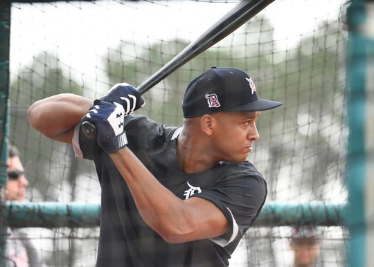 Jonathan Schoop takes batting practice during his first day in Tigers camp on Thursday.