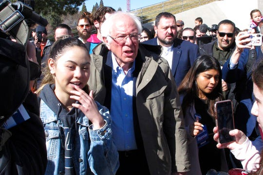 Democratic presidential candidate U.S. Sen. Bernie Sanders, I-Vt., capped a speech to hundreds of people on the campus of the University on Nevada, Reno, Tuesday, Feb. 18, 2020, by leading several dozen on a two-block march to the student union to cast their ballot on the final day of early voting ahead of Saturday's presidential caucuses.