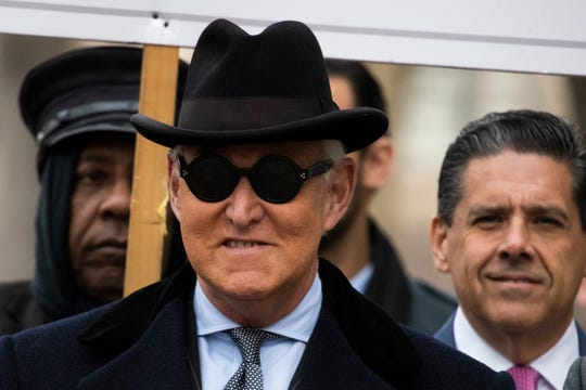 Roger Stone arrives at federal court in Washington on Thursday.