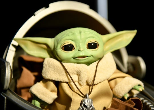 """This Baby Yoda toy is one of dozens connected to """"The Mandalorian"""" that will be shown at the  Toy Show in New York."""
