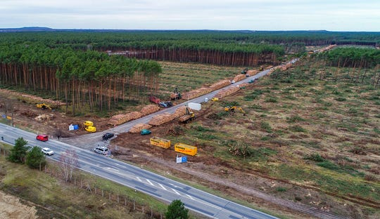 General view of the already partly cleared forest area on the future site oft he planned Tesla factory near Gruenheide, Germany, Monday, Feb. 17, 2020.