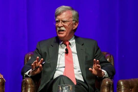 Former national security adviser John Bolton takes part in a discussion on global leadership at Vanderbilt University Wednesday, Feb. 19, 2020, in Nashville, Tenn.