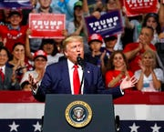 President Donald Trump speaks at a campaign rally Wednesday, Feb. 19, 2020 in Phoenix.