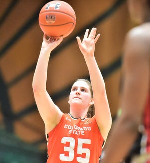 Colorado State women's basketball player Lore Devos, shown shooting a free throw in the Rams' 60-56 win over UNLV on Wednesday, Feb. 19, 2020, made two free throws in the final seconds Monday night to force overtime in a game CSU lost to San Diego State.