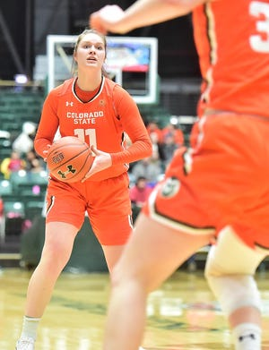 CSU women's basketball player Makenzie Ellis prepares to pass the ball during a 60-56 win over UNLV on Feb. 19 at Moby Arena. Ellis led CSU with 19 points but the Rams' season ended in a loss to Air Force on Sunday night.