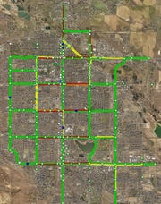 This image captured by Fort Collins Traffic Operations shows the traffic impact of an extra-long train passing through the city around 5 p.m. on a day in September 2019. Red lines indicate no movement.