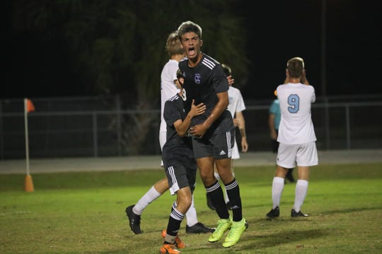 Mariner High School's Leo Perez celebrates after a goal when the Tritons played Nature Coast Tech in the Region 4A-2 boys soccer championship game on Wednesday, Feb. 19, 2020.