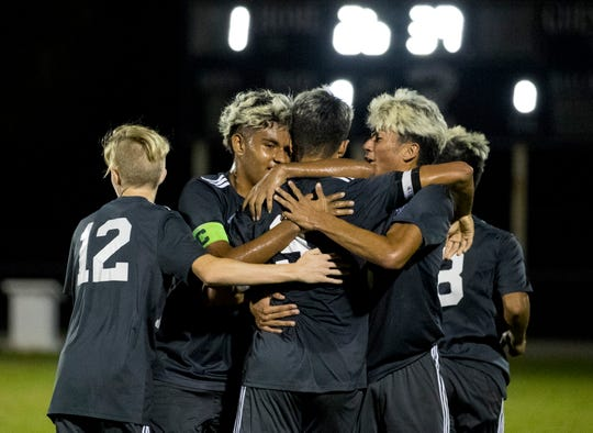 Mariner High School soccer players celebrate a goal by Leo Perez in the first half against Nature Coast Tech in the Region 4A-2 boys soccer championship game on Wednesday, Feb. 19, 2020, in Cape Coral.