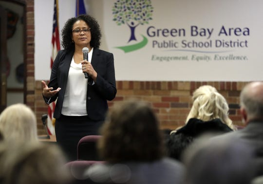 Sonia Stewart, one of two finalists for the Green Bay Area Public School District superintendent position, speaks to district staff, parents and community members during a question-and-answer session on Wednesday.