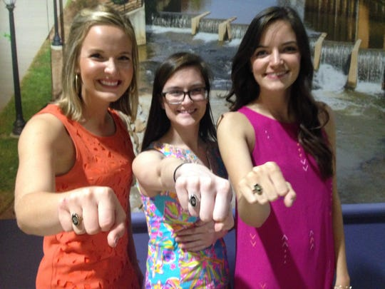 Catherine Kenyon (middle) after her 2016 ring ceremony at Clemson University. A year later, she lost her ring getting off the bus. Then, on Wednesday, Feb. 19, 2020, she got a text that someone had found it.
