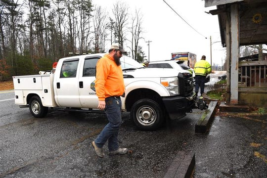 In the event of snow, SCDOT plow and workers were ready at Mt. Rest Cafe in Oconee County, Feb. 20, 2020.