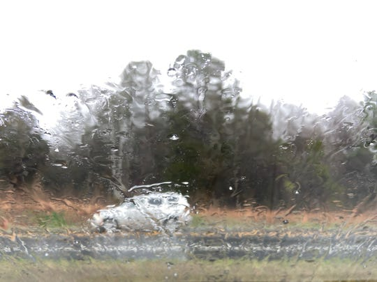 Bits of hail come down in Easley on Thursday, Feb. 20, 2020.