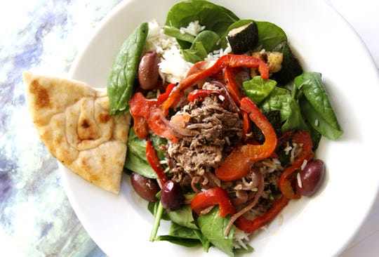 Kairos' Greek-inspired Great Grains bowl with roasted lamb, grains, lentils, grilled red peppers and zucchini.
