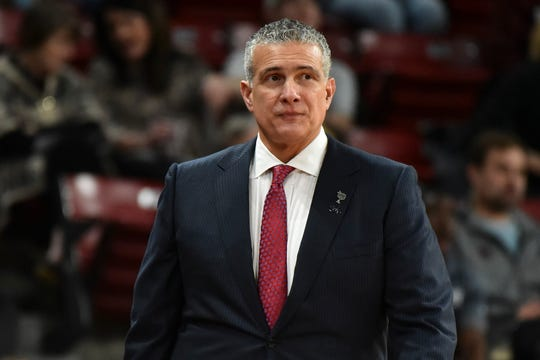 Feb 19, 2020; Starkville, Mississippi, USA; South Carolina Gamecocks head coach Frank Martin walks down the court during the first half of the game against the South Carolina Gamecocks at Humphrey Coliseum.