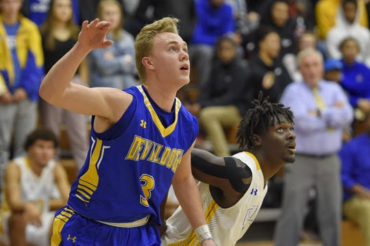 Travelers Rest senior guard Case Roach (3) and the Devildogs will travel to face Wren Saturday in the second round of the Class AAAA basketball playoffs.