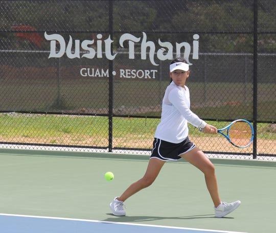 Mandareva Kawaguchu gets ready to hit a backhand at the 2020 Calvo's SelectCare Grand Prix Tennis Tournament on Sunday at the Guam National Tennis Center. Kawaguchu upset No. 1 seed Leila Mercado 6-3, 6-4 to win the Women's 3.0 Skilled Singles event.