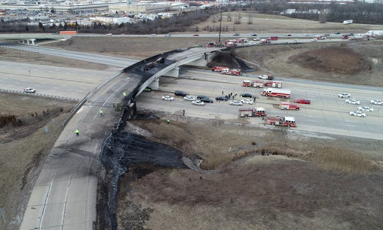 The ramp from I-465 southbound to I-70 eastbound is pictured Thursday afternoon after a tanker truck carrying about 4,000 gallons of jet fuel overturned and exploded, closing lanes for hours.