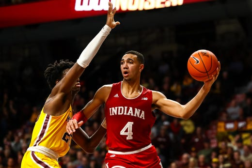 Indiana's freshman big man, Trayce Jackson-Davis had a tremendous showing as he helped lead his team's win over Minnesota.  (Photo: David Berding/USA TODAY Sports, via Indy Star.)