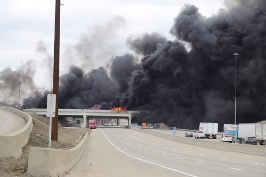 A tanker carrying about 4,000 gallons of jet fuel overturned and exploded near I-70 and I-465 on the city's east side, closing lanes and backing up traffic on both interstates, Thursday, Feb. 20, 2020.