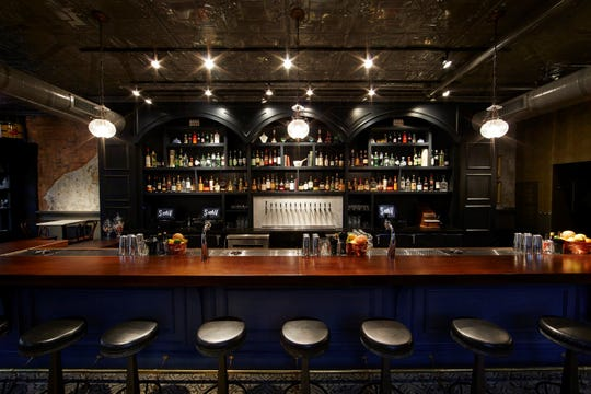 The apothecary-style setting at Sundry and Vice, a cocktail lounge in Cincinnati that's coming to the Indianapolis' Bottleworks District food hall in 2020.