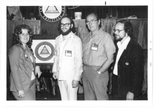 Tom Jacobs, in all white, second from the left, with fellow members of the American Federation of State, County, and Municipal Employees union in July 1976.