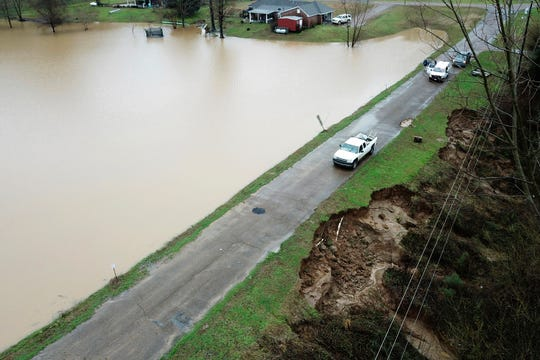 FILE - In this Feb. 11, 2020, file, aerial drone photo provided by the Mississippi Emergency Management Agency shows a potential dam/levee failure in the Springridge Place subdivision in Yazoo County, Miss. Heavy rains and recent flooding across the Southeastern U.S. have highlighted a potential public safety concern for some dams. (David Battaly/Mississippi Emergency Management Agency via AP)